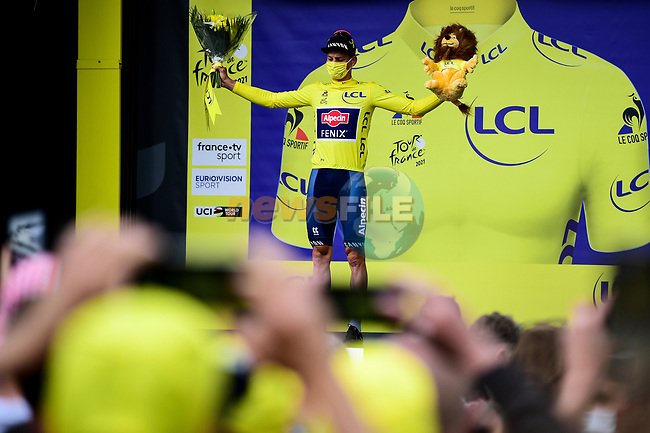 Race leader Mathieu Van Der Poel (NED) Alpecin-Fenix retains the Yellow Jersey at the end of Stage 4 of the 2021 Tour de France, running 150.4km from Redon to Fougeres, France. 29th June 2021.  <br /> Picture: A.S.O./Pauline Ballet | Cyclefile<br /> <br /> All photos usage must carry mandatory copyright credit (© Cyclefile | A.S.O./Pauline Ballet)