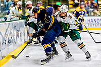 26 January 2019:  University of Vermont Catamount Forward Bryce Misley, a Sophomore from Toronto, Ontario, in second period action against the Merrimack College Warriors at Gutterson Fieldhouse in Burlington, Vermont. The Catamounts defeated the Warriors 4-3 in overtime to take both games of their weekend America East conference series. Mandatory Credit: Ed Wolfstein Photo *** RAW (NEF) Image File Available ***