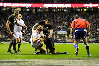 Billy Twelvetrees of England dives over to score a try on his debut during the RBS 6 Nations match between England and Scotland at Twickenham on Saturday 02 February 2013 (Photo by Rob Munro)
