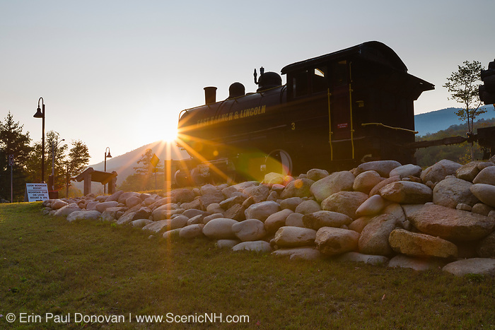 The East Branch & Lincoln Railroad's Porter 50 ton saddle tank engine locomotive, the No. 3, on display at the entrance to Loon Mountain along the Kancamagus Scenic Byway in Lincoln, New Hampshire.