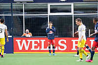 FOXBOROUGH, MA - MAY 16: Carles Gil reacts to his goal being disallowed during a game between Columbus SC and New England Revolution at Gillette Stadium on May 16, 2021 in Foxborough, Massachusetts.