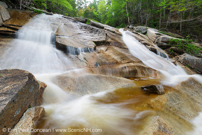 """The """"other"""" Pitcher Falls in Lincoln, New Hampshire USA during the spring months. This waterfall is located on the South Fork of the Hancock Branch in the scenic White Mountains."""