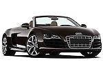 Low aggressive passenger side front three quarter view of a 2010 - 2012 Audi R8 Spyder v10 2 Door Convertible.