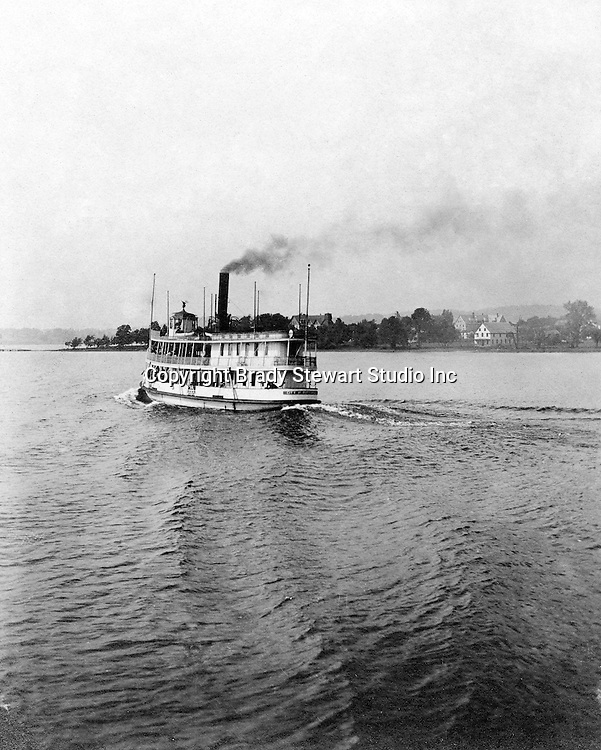 Lakewood NY: the City of Pittsburgh Ferry leaving the Kent House pier. Photographs were taken during a church field trip to Chautauqua Institution in New York (Lake Chautauqua). The Stewart family and friends visited Chautauqua during 1901 to hear Stewart's relative, Dr. S.H. Clark speak at the institute. Alice Brady Stewart chaperoned and Brady Stewart came along to photograph the trip.  The Gallery provides a glimpse of how the privileged and church faithful spent summers at Lake Chautauqua at the turn of the century.
