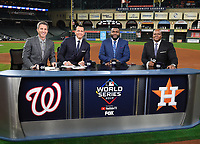 HOUSTON - OCTOBER 29: Kevin Burkhardt, Alex Rodriguez, David Ortiz, and Frank Thomas at World Series Game 6: Washington Nationals at Houston Astros on Fox Sports at Minute Maid Park on October 29, 2019 in Houston, Texas. (Photo by Frank Micelotta/Fox Sports/PictureGroup)