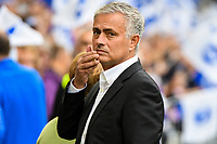Jose Mourinho Manager of Manchester United Frustrated before KO in the Premier League match between Brighton and Hove Albion and Manchester United at the American Express Community Stadium, Brighton and Hove, England on 19 August 2018. Photo by Edward Thomas / PRiME Media Images.