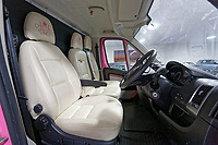 "Pictured: Interior view of the pink Fiat Ducato horsebox once owned by tv personality Katie Price.<br /> Re: A pink horsebox owned by Katie Price is up for grabs at auction after failing to sell on eBay.<br /> The 2012 registered Fiat Ducato is instead listed on the John Pye online auction site and is now at the company's depot in Port Talbot, south Wales.<br /> The vehicle has only covered 7,000 miles, with additional features EQUI-TREK SUPER SONIC HORSE BOX CARRIER.<br /> Previously owned by Model/TV celebrity Katie Price<br /> 3.5 t finished paint work in Pink by Kahn.<br /> 2 Horse carrier.<br /> Cream Leather interior.<br /> Tachograph.<br /> Aircon.<br /> Grooms Locker.<br /> Extra height partition.<br /> Skylight Roof Vent.<br /> Internal Lighting.<br /> Tinted windows.<br /> Tie Rings on external.<br /> Internal and rear reversing cameras.<br /> wireless camera system with 7"" screen"