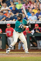 Anthony Marks #29 of the Coastal Carolina Chanticleers bats during a College World Series Finals game between the Coastal Carolina Chanticleers and Arizona Wildcats at TD Ameritrade Park on June 27, 2016 in Omaha, Nebraska. (Brace Hemmelgarn/Four Seam Images)