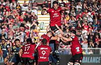 Sam Whitelock taps down lineout ball during the 2020 Super Rugby match between the Crusaders and Highlanders at Orangetheory Stadium in Christchurch, New Zealand on Saturday, 9 August 2020. Photo: Joe Johnson / lintottphoto.co.nz