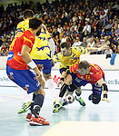 Spain's Daniel Sarmiento (l) and Julen Aguinagalde (r) and Bosnia Herzegovina's Nikola Prce (c-l) and Mirsad Terzic during 2018 Men's European Championship Qualification 2 match. November 2,2016. (ALTERPHOTOS/Acero)