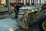KRASNAYA POLYANA, RUSSIA  - JANUARY 5:<br /> Construction work continues on a sidewalk at the Gorky Gorod hotel complex in the Mountain Cluster before the start of the 2014 Sochi Olympics Wednesday February 5, 2014<br /> (Photo by Chris Detrick/The Salt Lake Tribune)