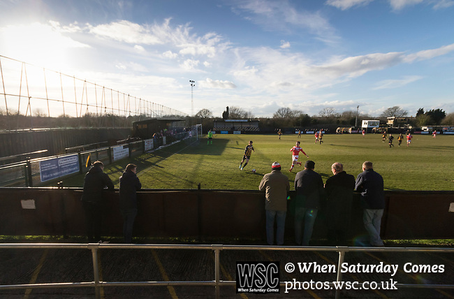 Rushall Olympic 1 Workingon 0, 17/02/2018. Dales Lane, Northern Premier League Premier Division. Fans watching Workington attack. Photo by Paul Thompson. Rushall Olympic 1 Workingon 0, Northern Premier League Premier Division, 17th February 2018. Rushall is a former mining village now part of the northern suburbs of Walsall.