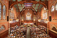 Easter service at Old South Church, Boston, MA (Cummings & Sears = architects, 1873)  Ruskinian Gothic. Copley Square