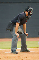 Home plate umpire Pat Hoberg during an Appalachian League game between the Bluefield Orioles and the Bristol White Sox at Boyce Cox Field August 27, 2010, in Bristol, Tennessee.  Photo by Brian Westerholt / Four Seam Images