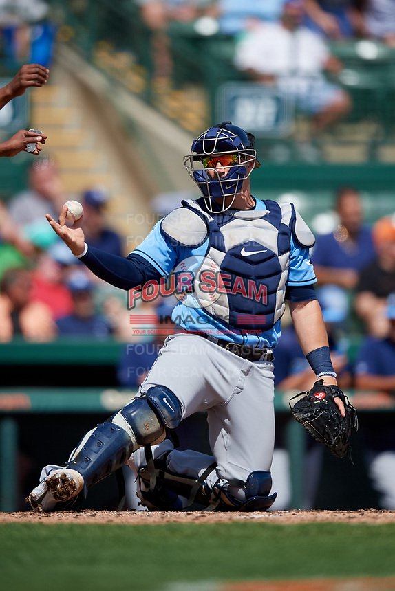 Tampa Bay Rays catcher Mike Zunino (10) during a Grapefruit League Spring Training game against the Baltimore Orioles on March 1, 2019 at Ed Smith Stadium in Sarasota, Florida.  Rays defeated the Orioles 10-5.  (Mike Janes/Four Seam Images)