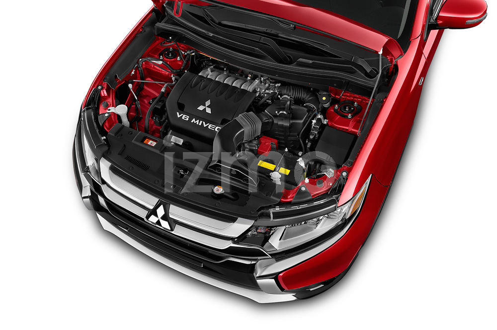 Car stock 2018 Mitsubishi Outlander GT 4WD 5 Door SUV engine high angle detail view
