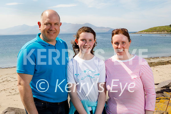 Enjoying a stroll in the Maherees on Saturday, l to r: Brian, Emma and Kelly O'Neill.