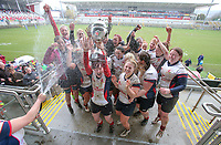 Tuesday 3rd April 2018 | Malone Women vs Ballynahinch Women<br /> <br /> Malone captain Jenna Stewart celebrates with her Malone team after defeating Ballynahinch in the Easter Tuesday Ulster Womens final at Kingspan Stadium, Ravenhill Park, Belfast, Northern Ireland. Photo by John Dickson / DICKSONDIGITAL
