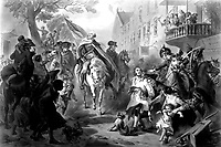 Triumph of Patriotism.  George Washington entering New York, 1783.  Copy of print by A. H. Ritchie after F.O.C. Darley.  (George Washington Bicentennial Commission)<br /> Exact Date Shot Unknown<br /> NARA FILE #:  148-GW-334<br /> WAR & CONFLICT #:  53