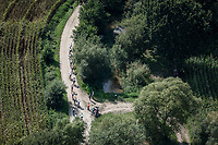 "Peloton riding the  gravel. <br /> <br /> Antwerp Port Epic 2018 (formerly ""Schaal Sels"")<br /> One Day Race: Antwerp > Antwerp (207km of which 32km are cobbles & 30km is gravel/off-road!)"