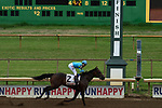 Jockey Rafael Bejarano and his ride, Perfect Mistake, cross the finish line in third place during the fourth race at Ellis Park in Henderson, Ky., Sunday afternoon, Aug. 9, 2020.