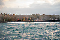 August 2018: Newly created black sand beach from the Kilauea Volcano lava flow at Pohoiki, Puna district of the Big Island of Hawai'i.