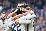 Alvaro Morata, Lucas Vazquez , Cristiano Ronaldo  and Isco Alarcon  of Real Madrid celebrates after scoring a goal during the match of La Liga between Real Madrid and RCE Espanyol at Santiago Bernabeu  Stadium  in Madrid , Spain. February 18, 2016. (ALTERPHOTOS/Rodrigo Jimenez)