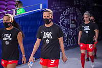 ORLANDO, FL - FEBRUARY 24: Evelyne Viens #9 of the CANWNT walks out of the tunnel before a game between Brazil and Canada at Exploria Stadium on February 24, 2021 in Orlando, Florida.