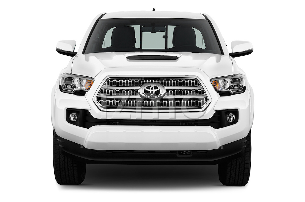 Car photography straight front view of a 2017 Toyota Tacoma TRD Sport 4 Door Pick Up Front View