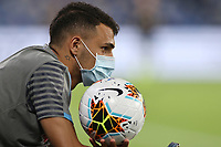 Ball boy with anti-covid mask and Serie A ball<br /> during the Serie A football match between SSC  Napoli and AS Roma at stadio San Paolo in Naples ( Italy ), July 05st, 2020. Play resumes behind closed doors following the outbreak of the coronavirus disease. <br /> Photo Cesare Purini / Insidefoto