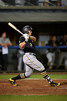 Bristol Pirates first baseman Mason Martin (3) hits a double during the second game of a doubleheader against the Bluefield Blue Jays on July 25, 2018 at Bowen Field in Bluefield, Virginia.  Bristol defeated Bluefield 5-2.  (Mike Janes/Four Seam Images)