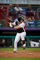 Erie SeaWolves Frank Schwindel (27) at bat during an Eastern League game against the Portland Sea Dogs on June 17, 2019 at UPMC Park in Erie, Pennsylvania.  Portland defeated Erie 6-3.  (Mike Janes/Four Seam Images)