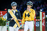 Team DASH rider Clarissa Lyra of Hong Kong riding Chardonay Haras des Barrages and jockey Vincent Ho of China riding Fiona D'Ecaussinnes compete in the HKJC Race Of The Riders during the Longines Masters of Hong Kong at the Asia World Expo on 09 February 2018, in Hong Kong, Hong Kong. Photo by Ian Walton / Power Sport Images