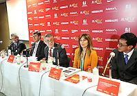 BOGOTA - COLOMBIA - 19-02-2014: Fabio Villegas (Cent.) Presidente Ejecutivo Avianca Holdings SA, habla durante rueda de prensa, en la presentación de la carrera Avianca RunTour 2015, Ciro Solano (Izq.) Vicepresidente Federacion Colombiana de Atletismo, Santiago Cabrera (2Izq.) Director Fundacion CardioInfantil,  Zwannee Linares (2Der.) Directora Ventas  Avianca Colombia y Juan Carlos Gonzalez (Der) Gerente General de Ergofitnes.  La Aeroline Avianca por tercer año consecutivo  organiza el RunTour, a beneficio de los niños de la de la Unidad de Cuidados Intensivos Cardiovascular Pedriatica  de la Fundacion CardioInfantil,  que se disputara el próximo domingo 15 de marzo en una distancia de 10 Kilometros.   / Fabio Villegas (C) CEO Avianca Holdings SA, speaks during a news conference at the launch of the race Avianca RunTour 2015, Ciro Solano (L) Vice President of Federacion Colombiana  Athletics, Santiago Cabrera (2L) Directed Cardioinfantil Foundation, Zwannee Linares (2 Der.) Sales Director Avianca Colombia and Juan Carlos Gonzalez  (R) of Ergofitnes CEO. The Aeroline Avianca organizes for the third consecutive year the RunTour, to benefit the children of the Cardiovascular Intensive Care Unit Pedriatica Cardioinfantil Foundation, which will be played on Sunday March 15 at a distance of 10 Kilometers. Photos: VizzorImage / Luis Ramirez / Staff.<br /> / Staff.