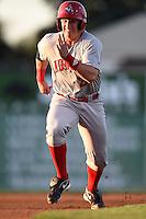 Auburn Doubledays outfielder Garrett Gordon (21) running the bases during a game against the Batavia Muckdogs on August 27, 2014 at Dwyer Stadium in Batavia, New York.  Auburn defeated Batavia 6-4.  (Mike Janes/Four Seam Images)