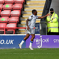 10th October 2020; Bescot Stadium, Walsall, West Midlands, England; English Football League Two, Walsall FC versus Colchester United; Goal celebrations for Callum Harriott of Colchester United