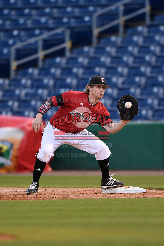 Louisville Cardinals first baseman Danny Rosenbaum (8) catches a throw during a game against the USF Bulls on February 14, 2015 at Bright House Field in Clearwater, Florida.  Louisville defeated USF 7-3.  (Mike Janes/Four Seam Images)