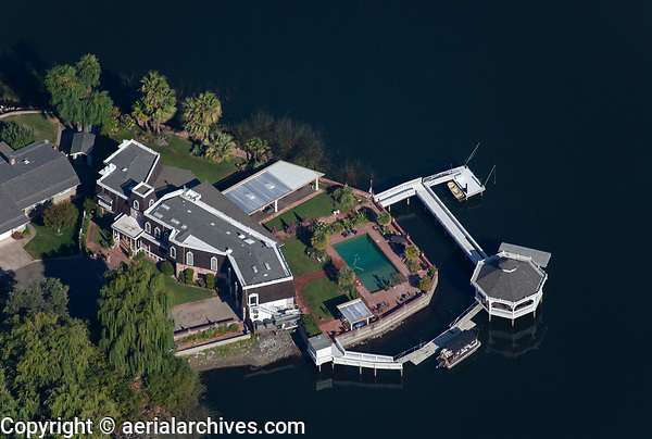 aerial photograph of 3394 Drake Court, located in the Corinthian Bay neighborhood of Lakeport, Lake County, California.