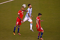Action photo during the match Argentina vs Chile corresponding to the Final of America Cup Centenary 2016, at MetLife Stadium.<br /> <br /> Foto durante al partido Argentina vs Chile cprresponidente a la Final de la Copa America Centenario USA 2016 en el Estadio MetLife , en la foto:(i-d) Arturo Vidal de Chile y Lionel Messi de Argentina<br /> <br /> <br /> 26/06/2016/MEXSPORT/JAVIER RAMIREZ