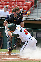 Toledo Mudhens Brian Peterson blocks the plate as Jason Dubois #41 crashes into him during an International League game at Dunn Tire Park on June 8, 2006 in Buffalo, New York.  (Mike Janes/Four Seam Images)