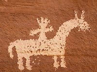 Ute Indian rock art, Petroglyph. Utah USA Arches National Park.