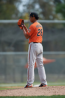 Baltimore Orioles pitcher Ofelky Peralta (26) during a Minor League Spring Training game against the Boston Red Sox on March 20, 2018 at Buck O'Neil Complex in Sarasota, Florida.  (Mike Janes/Four Seam Images)