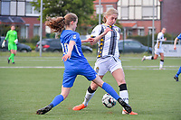 midfielder Jorien Voets (20) of KRC Genk pictured fighting for the ball with Ludmila Matavkova (9) of Sporting Charleroi during a female soccer game between  Racing Genk Ladies and Sporting Charleroi on the 9 th matchday of play off 2 in the 2020 - 2021 season of Belgian Scooore Womens Super League , saturday 22 nd of May 2021  in Genk , Belgium . PHOTO SPORTPIX.BE | SPP | STIJN AUDOOREN