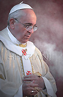 Pope Francis during mass on the occasion of All Saints' day at Campo di Verano cemetery in Rome. November 1, 2013