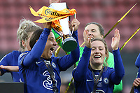 14th March 2021; Vicarage Road, Watford, Herts;  Sam Kerr Chelsea celebrates with Erin Cuthbert Chelsea for the victory of the FA Womens Continental Tyres League Cup final game between Bristol City and Chelsea at Vicarage Road Stadium in Watford. FA Womens Continental Tyres Cup Final