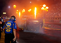 Aug 30, 2019; Clermont, IN, USA; Fire from pyrotechnics go off as NHRA funny car driver Ron Capps does a burnout during qualifying for the US Nationals at Lucas Oil Raceway. Mandatory Credit: Mark J. Rebilas-USA TODAY Sports