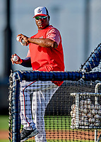 23 February 2019: Washington Nationals bullpen catcher Nilson Robledo tosses batting practice prior to a Spring Training game against the Houston Astros at the Ballpark of the Palm Beaches in West Palm Beach, Florida. The Nationals walked off with a 7-6 Opening Game win to start the Grapefruit League season. Mandatory Credit: Ed Wolfstein Photo *** RAW (NEF) Image File Available ***