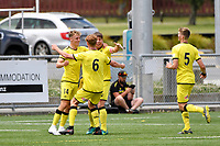 Oskar Van Hattum of the Wellington Phoenix celebrates after scoring his team's first goal  during the ISPS Handa Men's Premiership - Wellington Phoenix Reserves v Canterbury United at Fraser Park, Wellington on Saturday 9 January 2021.<br /> Copyright photo: Masanori Udagawa /  www.photosport.nz