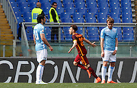 Calcio, Serie A: Lazio vs Roma. Roma, stadio Olimpico, 3 aprile 2016.<br /> Roma's Stephan El Shaarawy, center, celebrates after scoring during the Italian Serie A football match between Lazio and Roma at Rome's Olympic stadium, 3 April 2016.<br /> UPDATE IMAGES PRESS/Riccardo De Luca