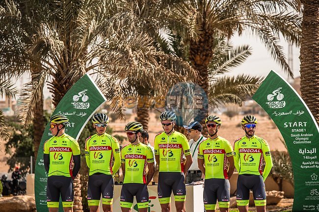 Bingoal-Wallonie Bruxelles at sign on before the start of Stage 1 of the Saudi Tour 2020 running 173km form Saudi Arabian Olympic Committee to Jaww, Saudi Arabia. 4th February 2020. <br /> Picture: ASO/Kåre Dehlie Thorstad   Cyclefile<br /> All photos usage must carry mandatory copyright credit (© Cyclefile   ASO/Kåre Dehlie Thorstad)